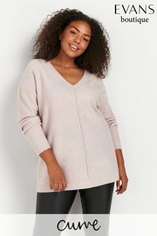 Evans Curve Blush Sequin V-Neck Jumper