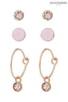 Accessorize Metallic 3 x Stud And Hoop Earrings With Swarovski® Crystals