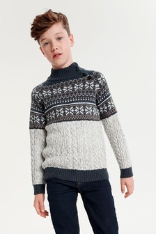 High Neck Fairisle Pattern Jumper (3-16yrs)