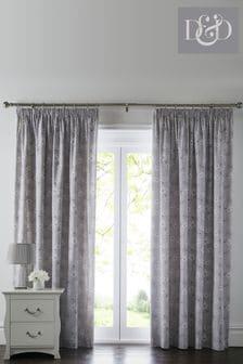 D&D Grey Freya Peony Print Pencil Pleat Curtains