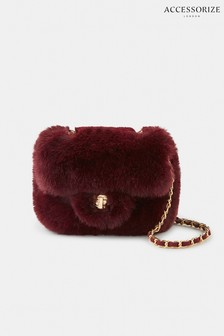 Accessorize Red Mini Faux Fur Cross Body Bag
