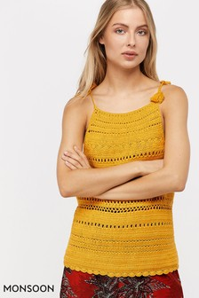 Monsoon Ladies Yellow Cora Cotton Crochet Vest