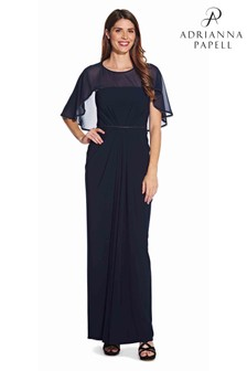 Adrianna Papell Blue Chiffon Jersey Draped Gown