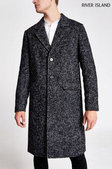 River Island Grey Charcoal Jumbo Herringbone Jacket