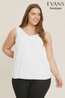 Evans Ivory Frill Camisole Top