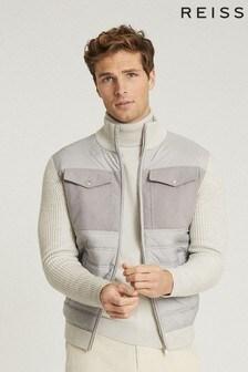Reiss Grey Miller Hybrid Zip Through Quilted Jacket