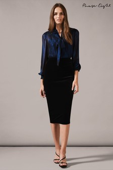 Phase Eight Black Velvet Length Skirt