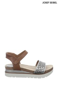 Josef Seibel Brown Clea Platform Wedge Sandals