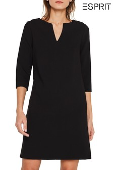 Esprit Black V-Neck And 3/4 Sleeves Woven Dress