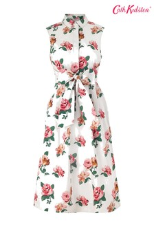 Cath Kidston® Cream Chiswick Rose Tie Waist Shirt Dress