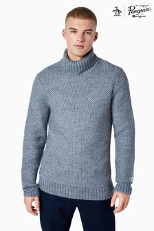 Original Penguin® Grey Wool Blend Roll Neck Jumper