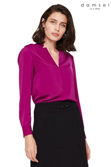 Damsel In A Dress Purple Hailey V-Neck Blouse