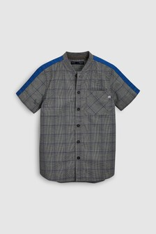 Short Sleeve Check Baseball Shirt With Shoulder Tape (3-16yrs)