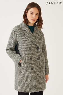 Jigsaw Grey Bouclé Oversized Pea Coat