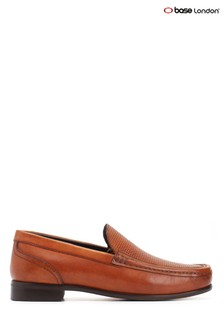 Base London Tan Corin Washed Slip-On Shoes