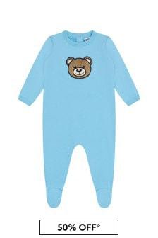 Moschino Kids Baby Boys Blue Cotton Babygrow