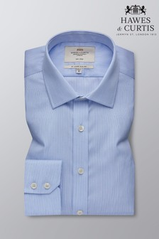 Hawes & Curtis Blue Slim Fit Multi Stripe Single Cuff Shirt