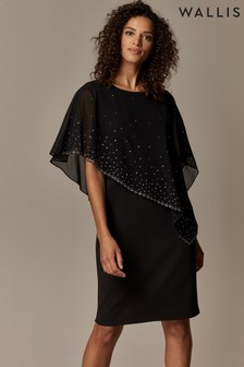 Wallis Black Embellished Overlay Dress
