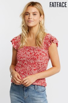 FatFace Red Maddie Oriental Ditsy Top