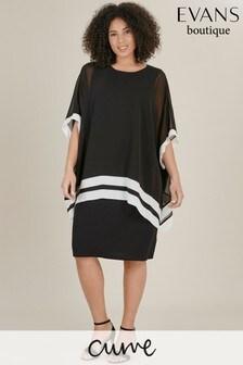 Evans Curve Black/White Overlay Dress
