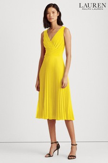 Lauren Ralph Lauren Lemon Yellow Rayella Pleated Dress
