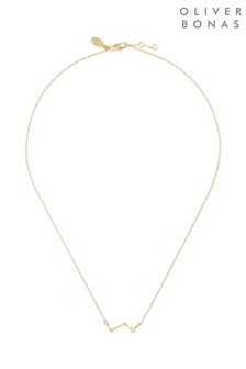 Oliver Bonas Constellation Lines Stone Gold Plate Necklace