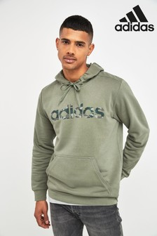 adidas Essentials Green Camo Logo Linear Pullover Hoody