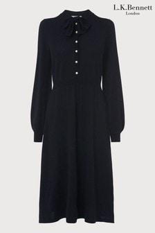 L.K. Bennett Blue Launay Pearl Button Wool Dress