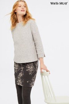 White Stuff Grey Ash Jacquard Skirt