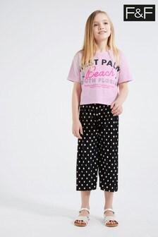 F&F Black Spot Culottes And T-Shirt Set