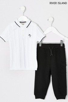 River Island White Ladder Polo With Utility Joggers Set