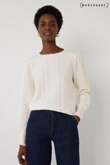 Warehouse Cream Raised Check Sweatshirt