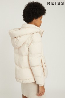 Reiss Cream Paige Padded Jacket With Removable Hood