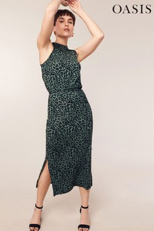 Oasis Natural Animal Print Halter Dress