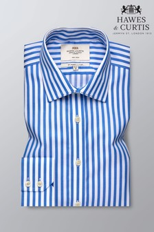 Hawes & Curtis Blue Slim Fit Bold Stripe Single Cuff Shirt