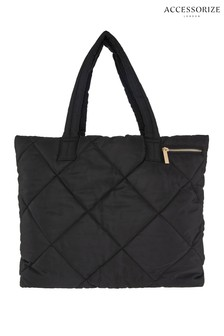 Accessorize Black Quilted Black Tote