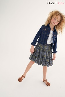 Oasis Navy Ditsy Ruffle Tiered Skirt