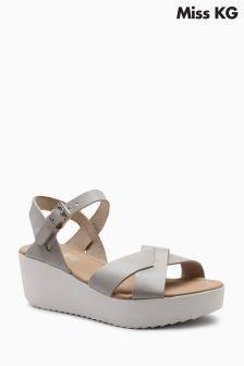 Miss KG Grey Strap Parker Wedge Sandal