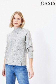 Oasis Grey Cable Knit Jumper