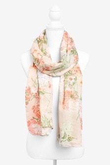 Oriental Floral Lightweight Scarf
