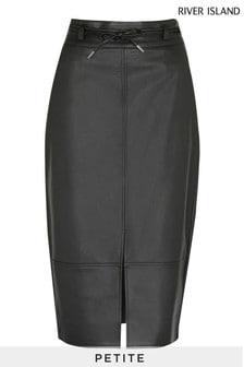 River Island Petite Black PU Split Front Belted Midi Skirt