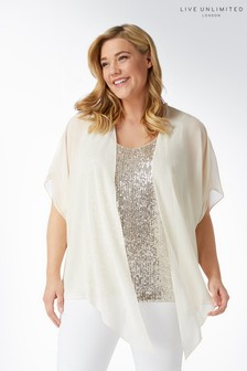 Live Unlimited Mink Sequin & Chiffon Mix Blouse