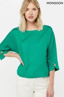 Monsoon Ladies Green Adore Linen T-Shirt
