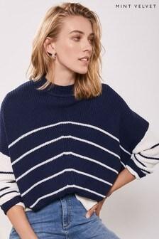Mint Velvet Blue Mismatch Stripe Knit Jumper