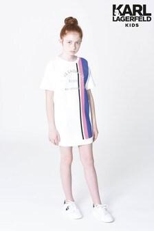 Karl Lagerfeld White Stripe Logo Jumper Dress