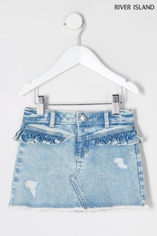 River Island Blue Frill Yoke Mini Skirt