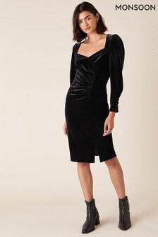 Monsoon Black Emily Stretch Velvet Shift Dress