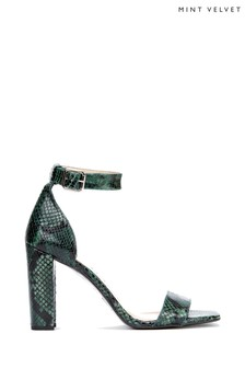 Mint Velvet Lucy Green Snake Block Heel Shoes