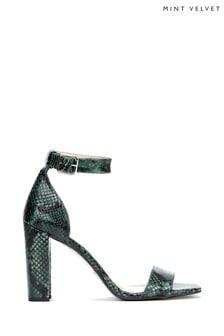 Mint Velvet Lucy Green Snake Block Heel Shoes