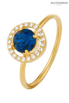 Accessorize Gold Tone Sparkle Halo Ring With Swarovski® Crystals